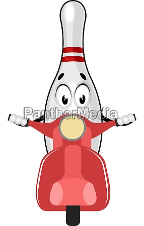 bowling pin riding motor illustration vector