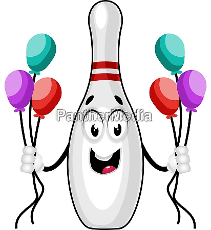 bowling pin with balloons illustration vector