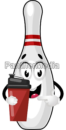 bowling pin with thermos illustration vector