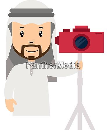 arab with camera illustration vector on