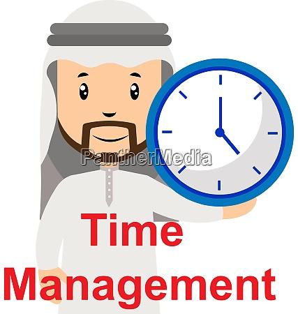 arab with clock illustration vector on