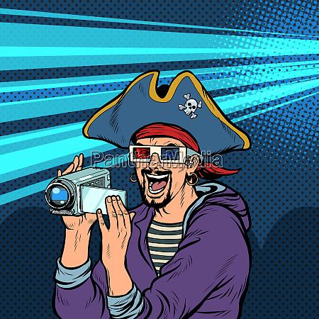 piraten schiesst und schaut sich abenteuerfilme