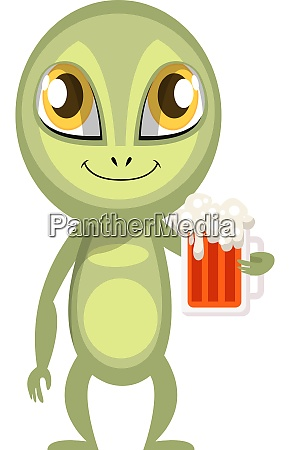 alien with beer illustration vector on
