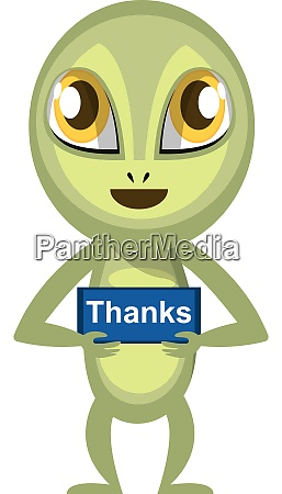 alien with thank you sign illustration
