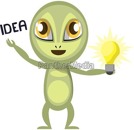 alien having a idea illustration vector