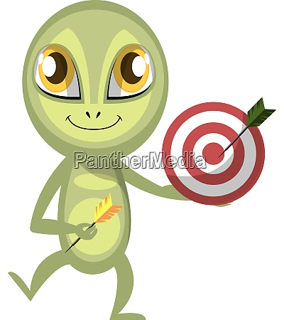 alien with target illustration vector on