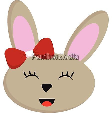laechelnbeige kaninchen mit roten bogen vektor