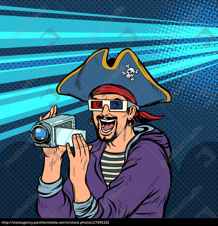 piraten, schießt, und, schaut, sich, abenteuerfilme - 27495326