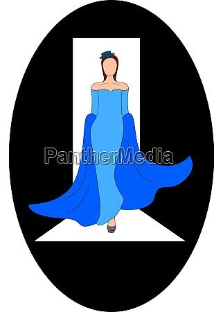 girl walking on podium illustration vector