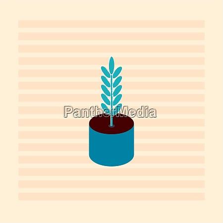 blue plant in blue pot illustration