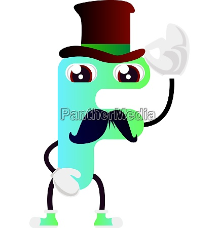 neon green letter f with hat