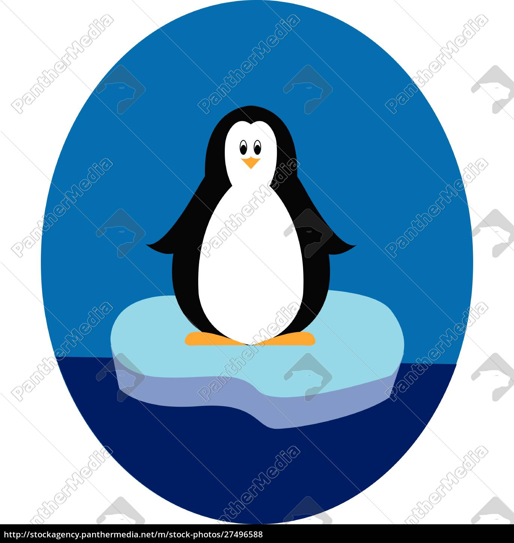 pinguin, steht, auf, eisberg, illustration, vektor - 27496588