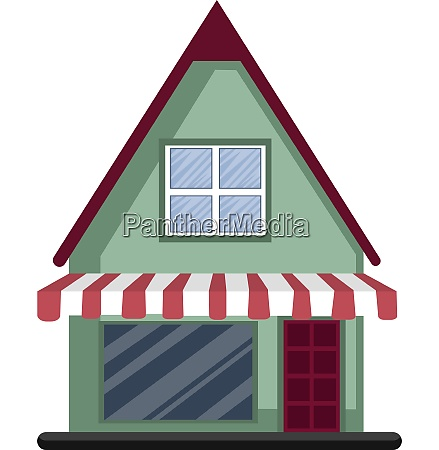 cartoon green building with red roof