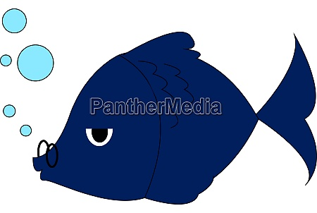 blue fish with glasses illustration vector