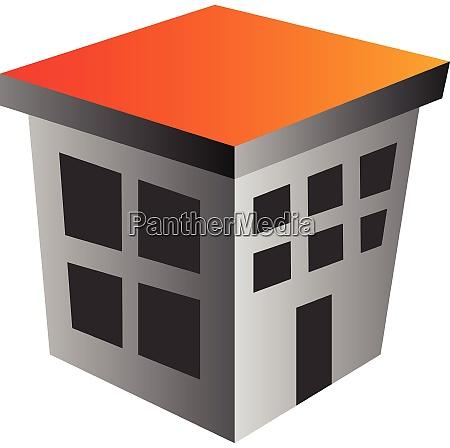 simple grey building with orange rooftop