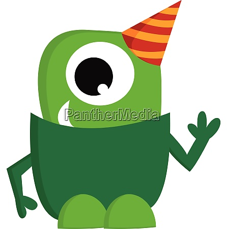 a green monster wearing a party