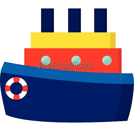 a blue cartoon ship with chimneys