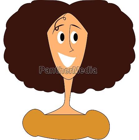 a girl with brown bushy hair