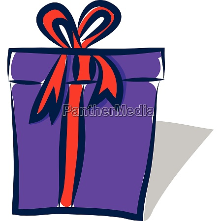 purple gift box with red ribbon
