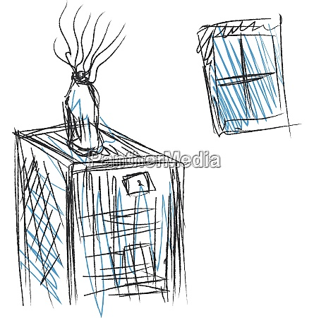 drawing of an inside home window