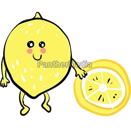 a lemon emoji holding a piece