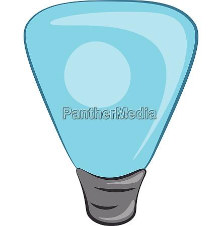 a blue colored cartoon light bulb