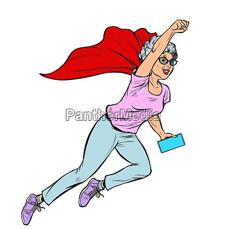 superheld fliegen aktive starke frau grossmutter