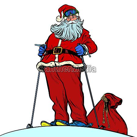 skifahrer santa claus charakter frohe weihnachten