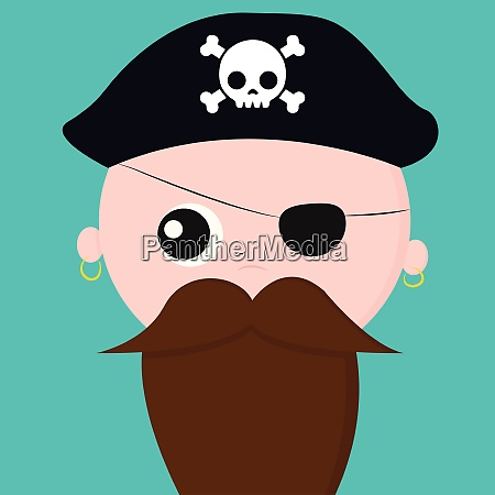 cute face of a pirate with