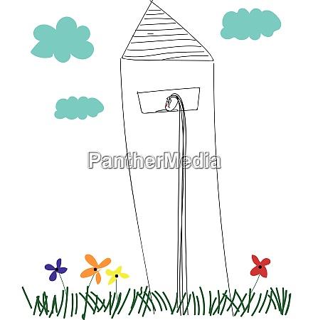 linienkunst eines leuchtturms ueber dem grasland