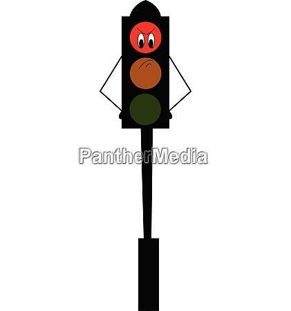 an angry cartoon traffic red light