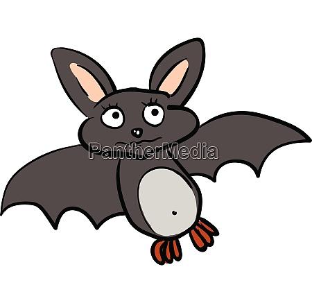 a sad cartoon grey colored bat