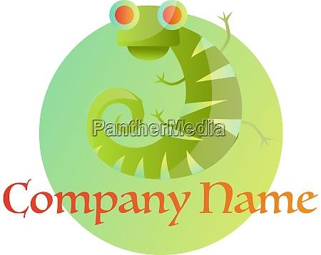 green chameleon on green circle logo
