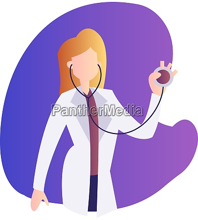 vector illustration of a female doctor