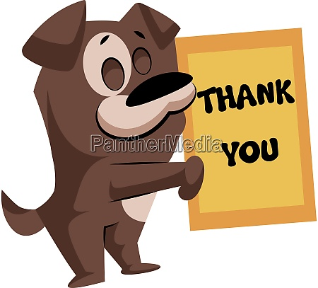 brown dog holding a thank you