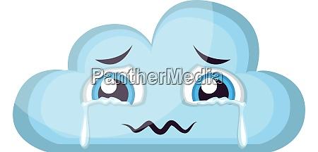 weinende hellblaue wolke emoji vektor illustration