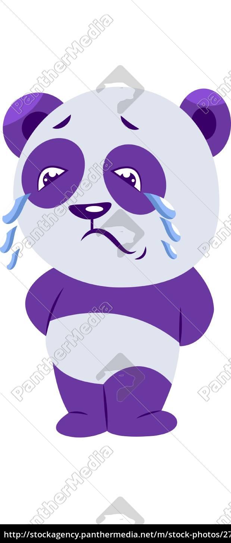 traurige, lila, und, weiß, panda, weinen - 27500309