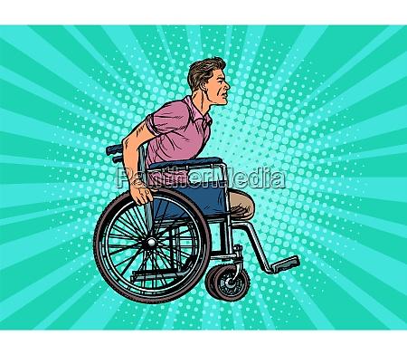 beinloser mann behinderter veteran im rollstuhl