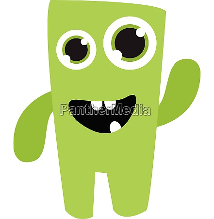 a cute green monster vector or