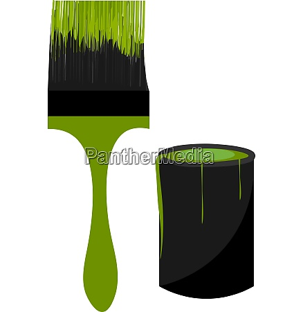 green paint brush vector or color