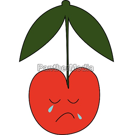 a sad red cherry in tears