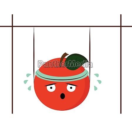 a cute red apple doing work