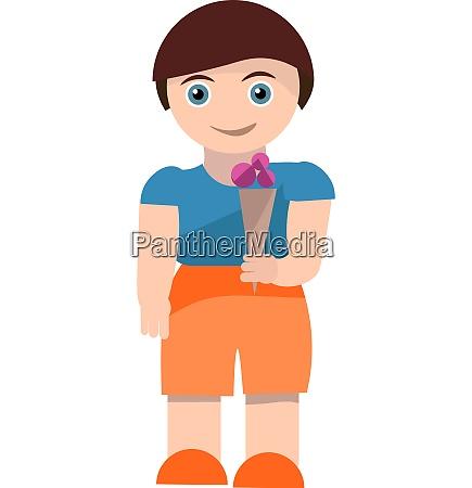 cartoon skinny boy with a cone