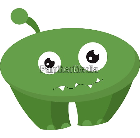 cartoon funny green monster with two