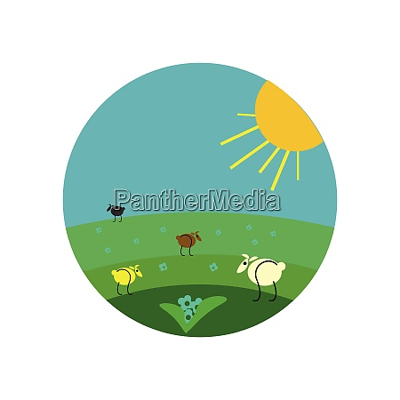 painting of few sheep grazing in