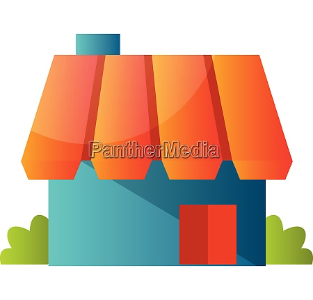 blue hause with orange roof simple