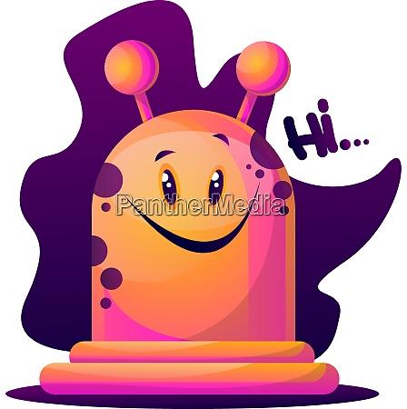 happy cartoon pink monster vector illustartion