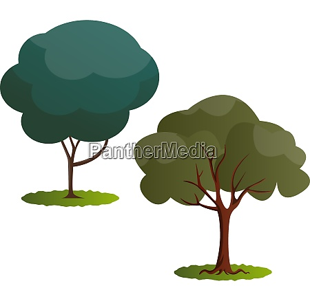 couple of green trees vector illustration