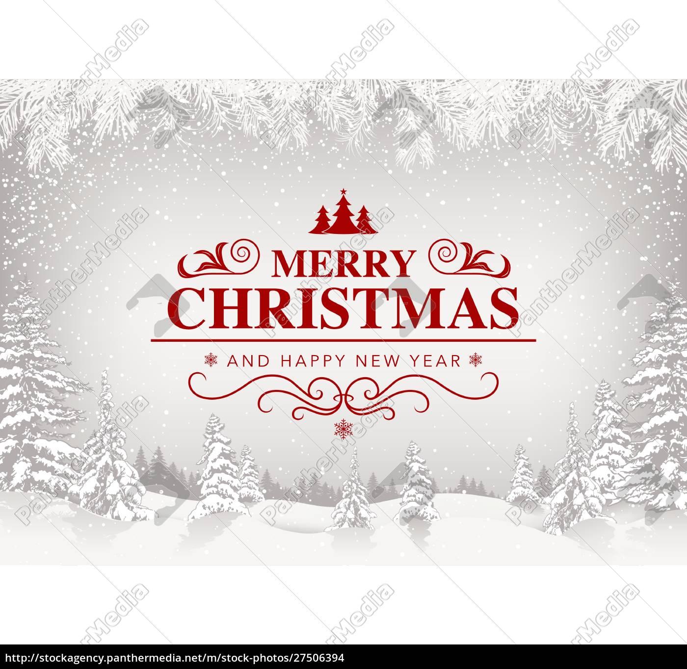 weihnachtsgruß, mit, weißer, schneelandschaft - 27506394