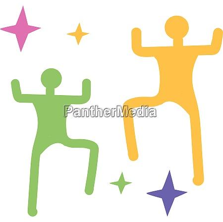 man slhouette dancing hand drawn design
